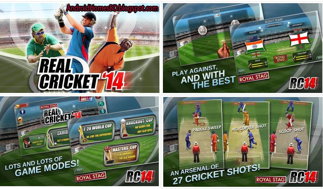 """ক্রিকেট পাগলারা আপনার এন্ডোয়েড মোবাইলে খেলুন বাস্থব সম্মত একটি ক্রিকেট গেইম""""Real cricket '14""""।মেগাবাইট আপনার সাধ্যের মধ্যে।"""