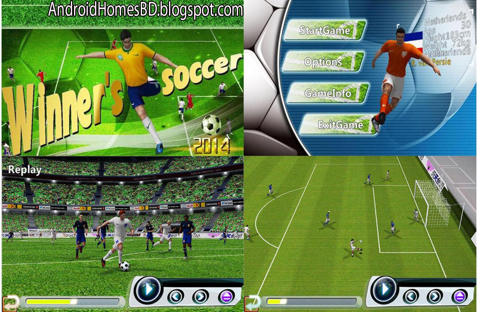 "Football পাগলারা আপনার এন্ডোয়েড মোবাইলে খেলুন বাস্থব সম্মত একটি Football গেইম""Winner's Soccer:Evolution Elite""।মেগাবাইট আপনার সাধ্যের মধ্যে।"