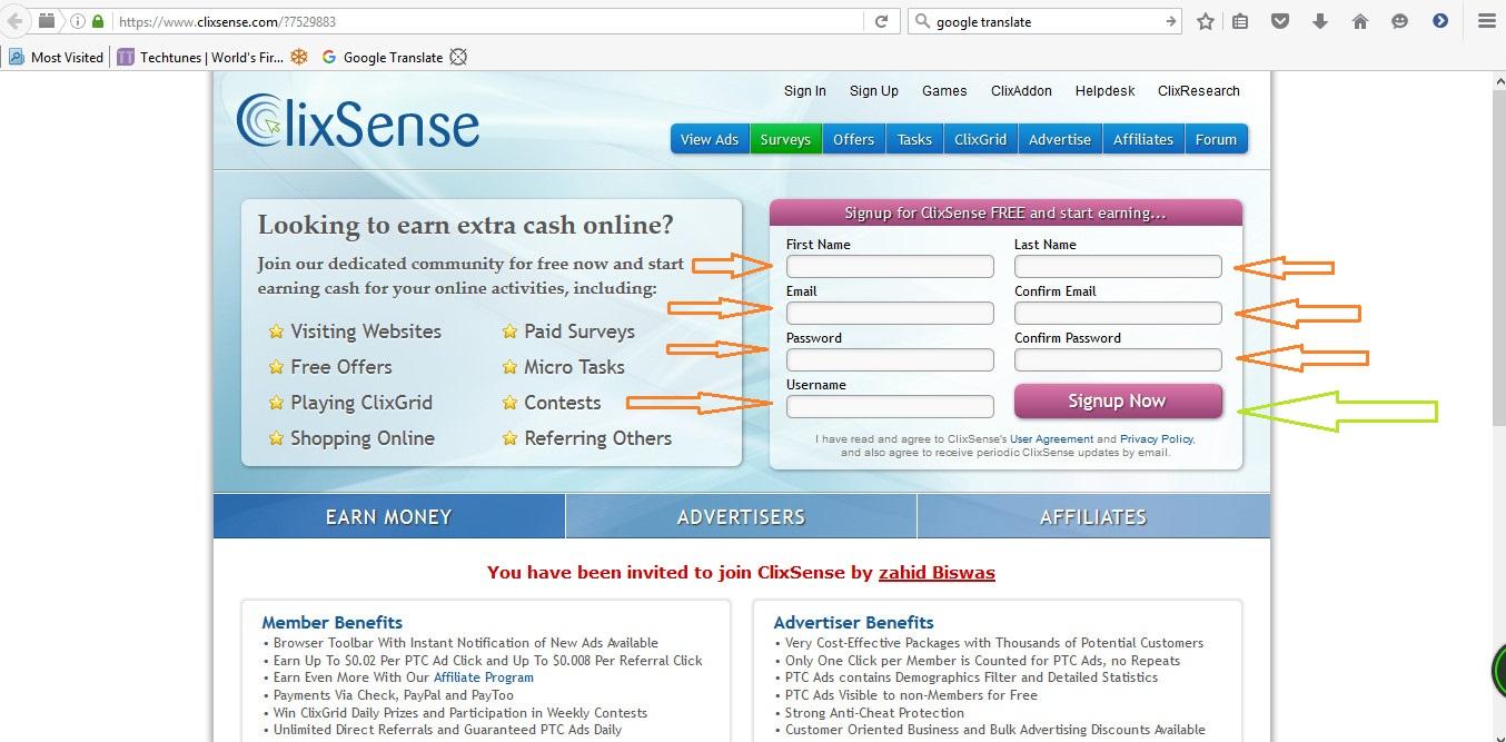 বিশ্বের ১ নং পিটিসি সাইট Clixsense  থেকে প্রতিদিন ১$-3$ আয়ের সব কিছু বিস্তারিত (Screenshots সহ বর্ণনা)