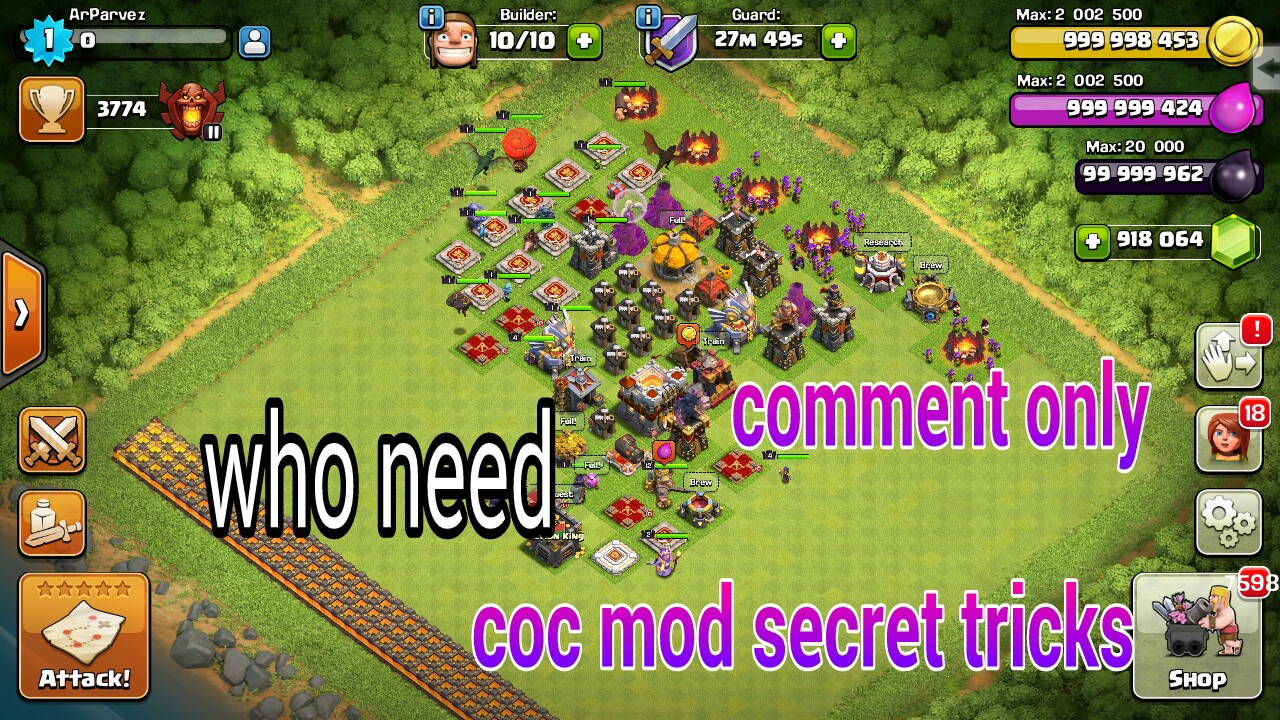 clash of clans mod version ( unlimited gems, gold, elixir, dark elixir) সম্পুরন নতুন। part 1