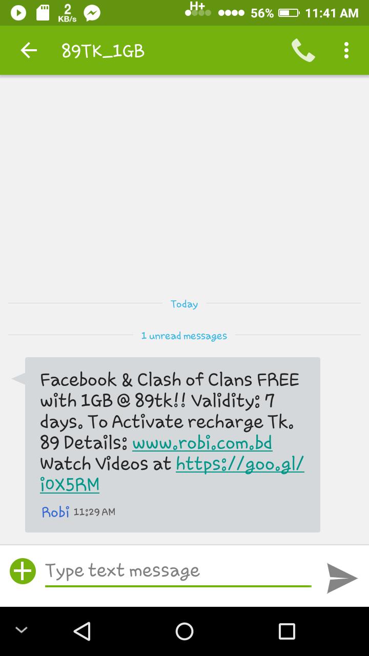 [Robi] রবি সীম এ ৮৯ টাকায় ১ জিবি সাথে থাকছে ফ্রী Facebook ও Clash Of Clans।