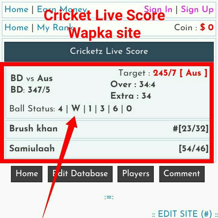 Wapka তে Html ও Css দিয়ে খুব সহজেই cricket Live score ওয়েব সাইটে পরিনত করতে পারবেন। নিজের পছন্দ মত বানিয়ে নিন ক্রিকেট লাইভ স্কোর সাইট।