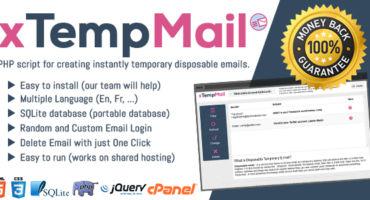 XTempMail টেম্পরারি মেইল Php Script Nulled এখনি ডাউনলোড করে বানিয়ে ফেলুন টেম্পরারি ইমেইলের সাইট'   কোন খাটাখাটনি ছাড়া আয় করুন ঘরে বসে