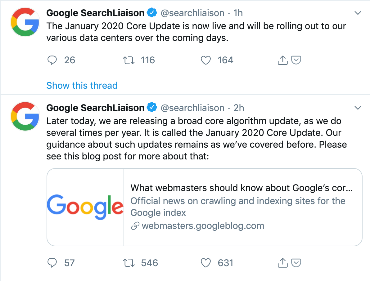 Google Core Algorithm Update 2020