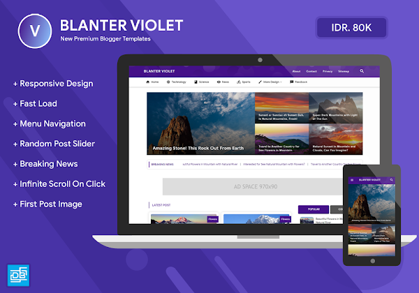 Blanter Violet Responsive Blogger Template (Baypass Licensed)