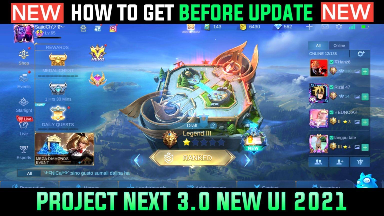 Project Next 3.0 UI এখনই ইনষ্টল করে নিন নতুন আপডেট আসার আগেই [MLBB]